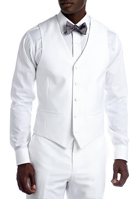Slim White Suit Separate Vest