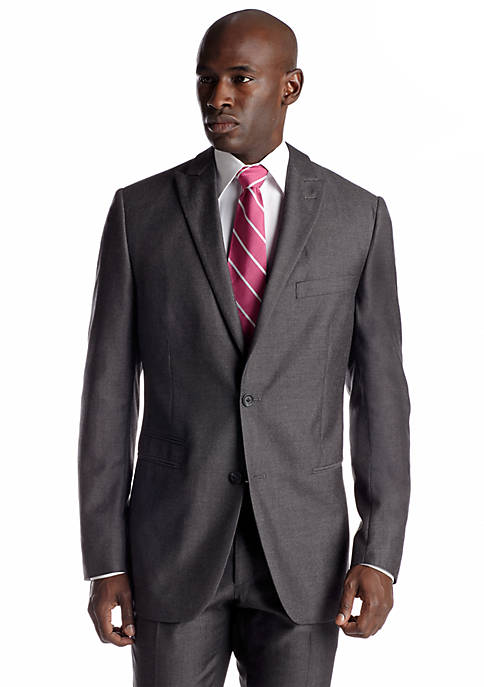 Classic Fit Gray Sharkskin Suit Separate Coat