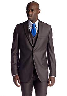 Classic Fit Brown Stripe Suit Separate Coat