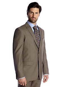 Classic Fit Brown Sharkskin Suit Separate Coat