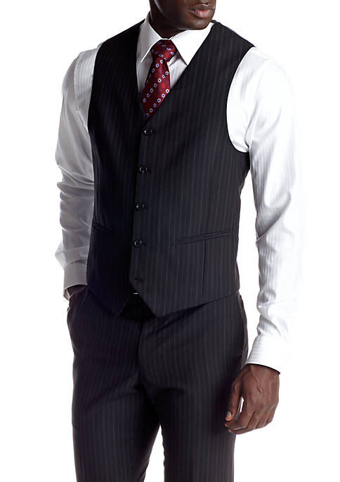 Classic Fit Black Stripe Suit Separate Vest