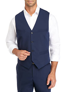 Blue Bi Stretch Slim Fit Leeds 4 Button Vest