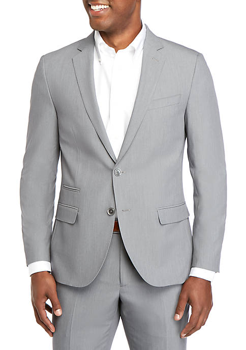 Pearl Gray Bi Stretch Poplin Slim Fit Suit Separate Coat
