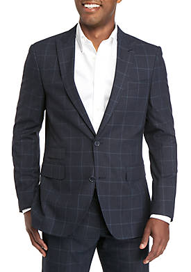 Blue Windowpane Modern Fit Suit Separate Coat
