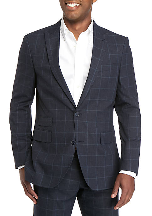 Savile Row Blue Windowpane Modern Fit Suit Separate