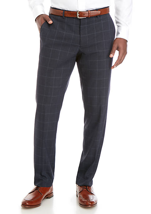 Stretch Blue Windowpane Modern Fit Suit Separate Pants