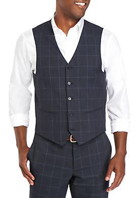 Blue Windowpane Modern Fit Suit Separate Vest