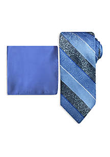 Fancy Stripe Tie and Pocket Square Set