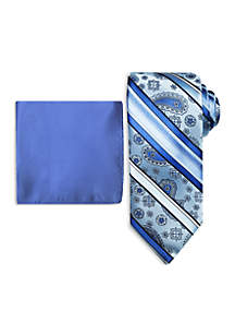 Paisley Stripe Tie and Pocket Square Set