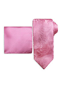 Fancy Solid Tie and Pocket Square Set
