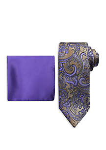 Steve Harvey® Large Paisley Tie and Pocket Square Set