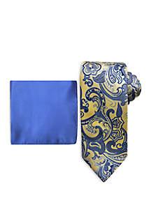 Steve Harvey® Large Paisley Tie and Pocket Square Set