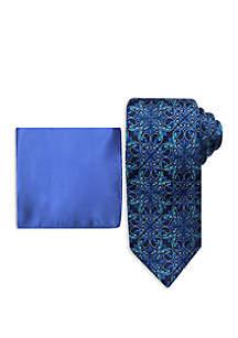 Steve Harvey® Damask Tie and Pocket Square Set