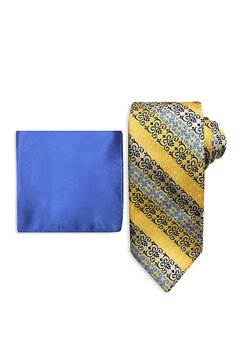 Scroll Stripe Tie and Pocket Square Set