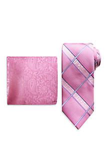 Steve Harvey® Plaid Tie and Paisley Pocket Square Set