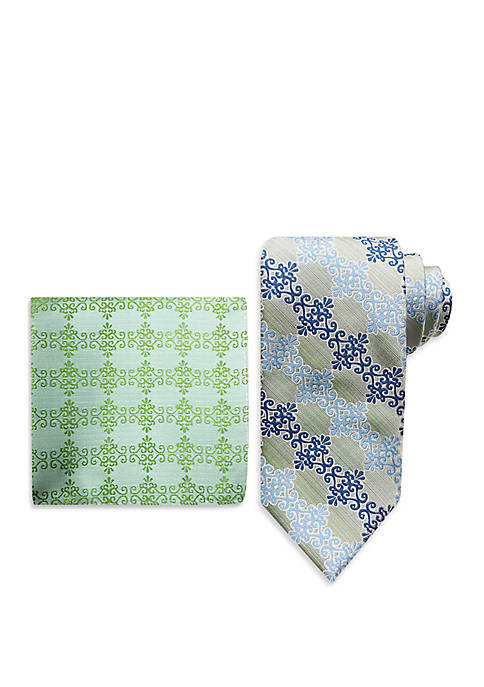 Scroll Tie And Pocket Square Set