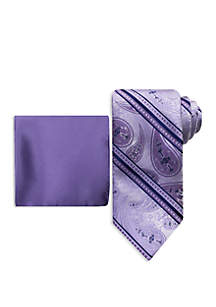 Steve Harvey® Striped Fancy Paisley Tie And Pocket Square Set