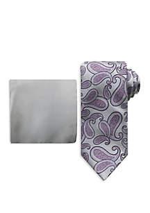 Steve Harvey® Shaded Paisley Tie And Pocket Square Set