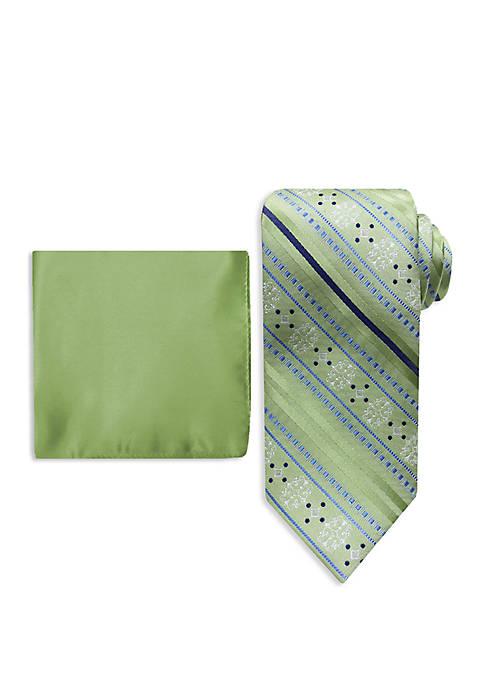Medallion Stripe Tie And Pocket Square Set