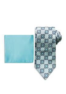 Steve Harvey® Connecting Medallion Tie And Pocket Square Set