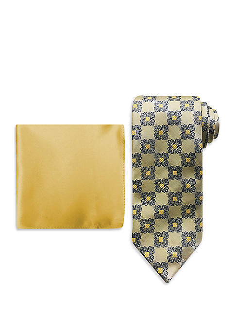 Connecting Medallion Tie And Pocket Square Set