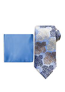 Steve Harvey® Large Ornate Medallion Tie And Pocket Square Set