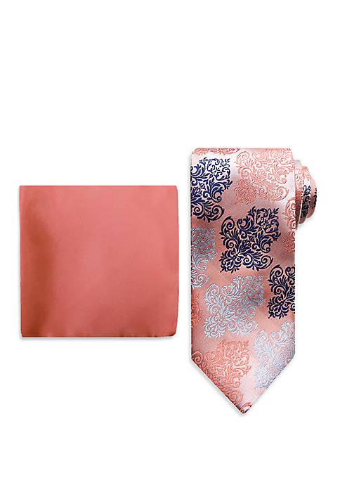 Large Ornate Medallion Tie And Pocket Square Set