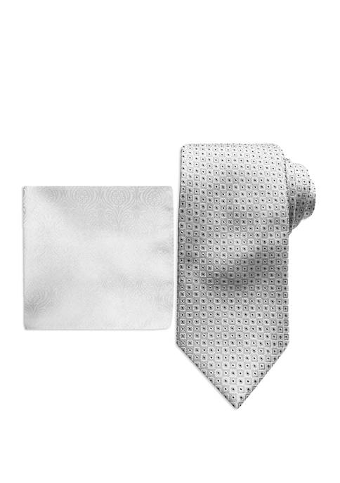 Micro Neat Tie and Pocket Square Set