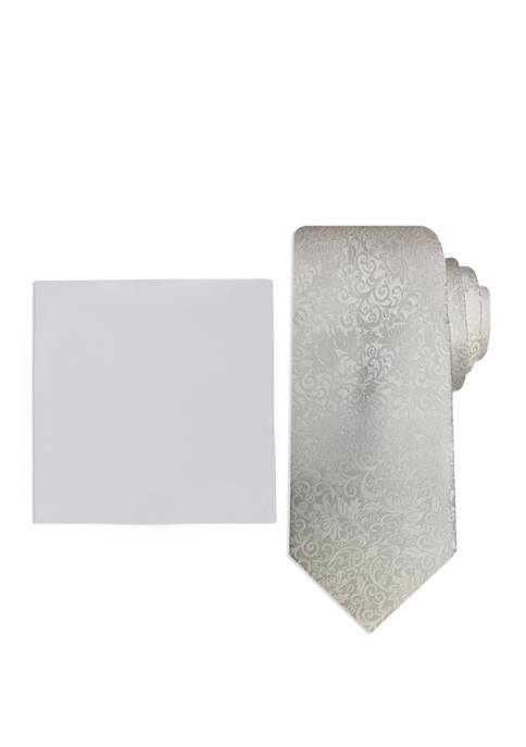 Mens Tonal Tapestry Pocket Square and Tie Set