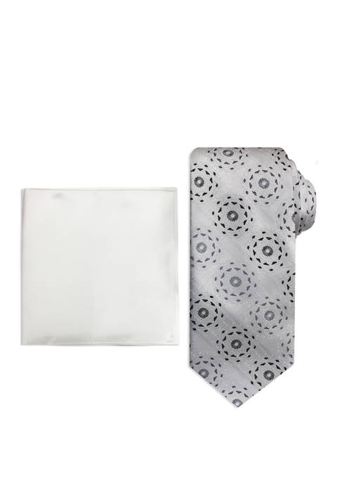 Mens Alternating Stripe Medallion Tie and Pocket Square Set