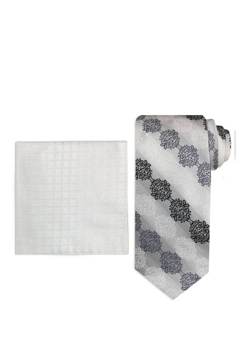 Mens Connecting Medallion Tie and Pocket Square Set