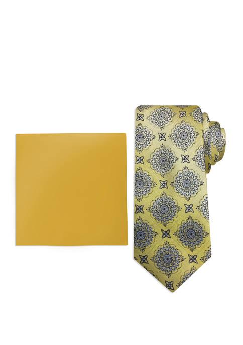 Mens Ornate Medallion Pocket Square and Tie Set