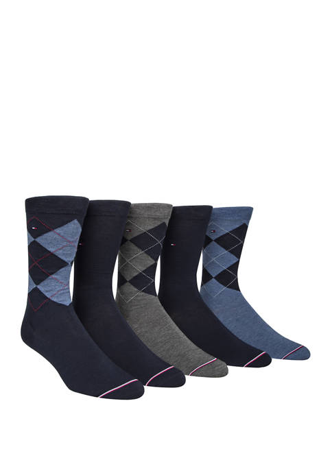 5 Pack Signature Argyle Crew Socks