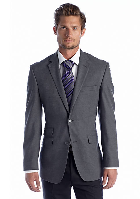 Perry Ellis® Slim Fit Gray Solid Sharkskin Suit