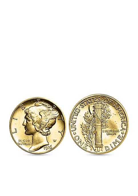 Gold Layered Mercury Dime Cufflinks