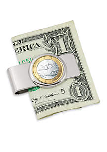 UPM Global Finland Swan One Euro Coin Silver Tone Money Clip