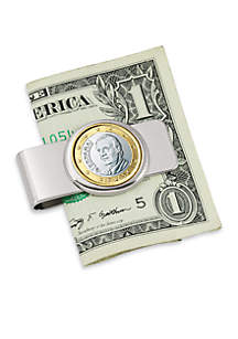 UPM Global Spain King One Euro Coin Silver Tone Money Clip