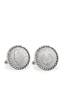 1800's Liberty Nickel Silver-Tone Rope Bezel Cufflinks