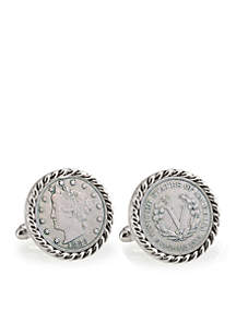 1883 First Year of Issue Liberty Nickel Silver Tone Rope Bezel Cufflinks