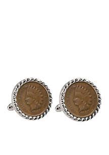 UPM Global Indian Head Penny Silver-Tone Rope Bezel Cufflinks
