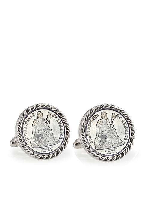 Seated Liberty Silver Dime Silver Tone Rope Bezel Cufflinks