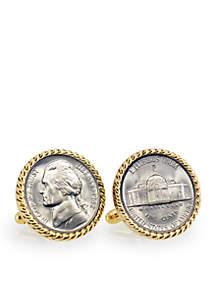 Silver Jefferson Nickel Wartime Nickel Gold Tone Rope Bezel Cufflinks