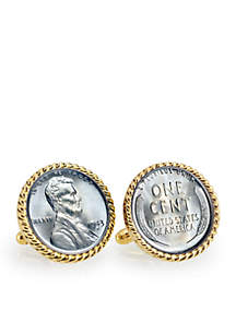 UPM Global 1943 Lincoln Steel Penny Gold Tone Rope Bezel Cufflinks