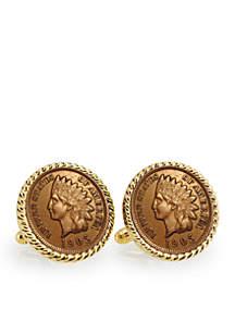 UPM Global Indian Head Penny Gold Tone Rope Bezel Cufflinks