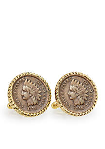 UPM Global 1800's Indian Head Penny Gold Tone Rope Bezel Cufflinks