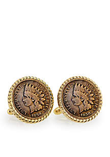 UPM Global 1859 First Year of Issue Indian Head Penny Gold-Tone Rope Bezel Cufflinks