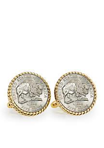 2005 Bison Nickel Gold-Tone Rope Bezel Cufflinks