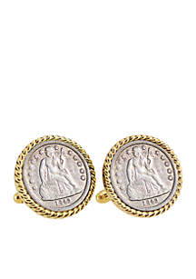Seated Liberty Silver Dime Gold-Tone Rope Bezel Cufflinks