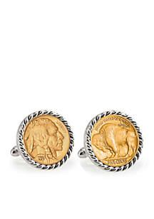 Gold- Layered Buffalo Nickel Silver Tone Rope Bezel Cufflinks