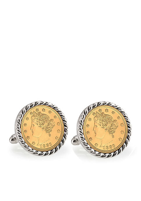 Gold Layered Liberty Nickel Silver Tone Rope Bezel Cufflinks